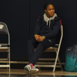 UConn point guard Moriah Jefferson watches the USA Women's Basketball practice.