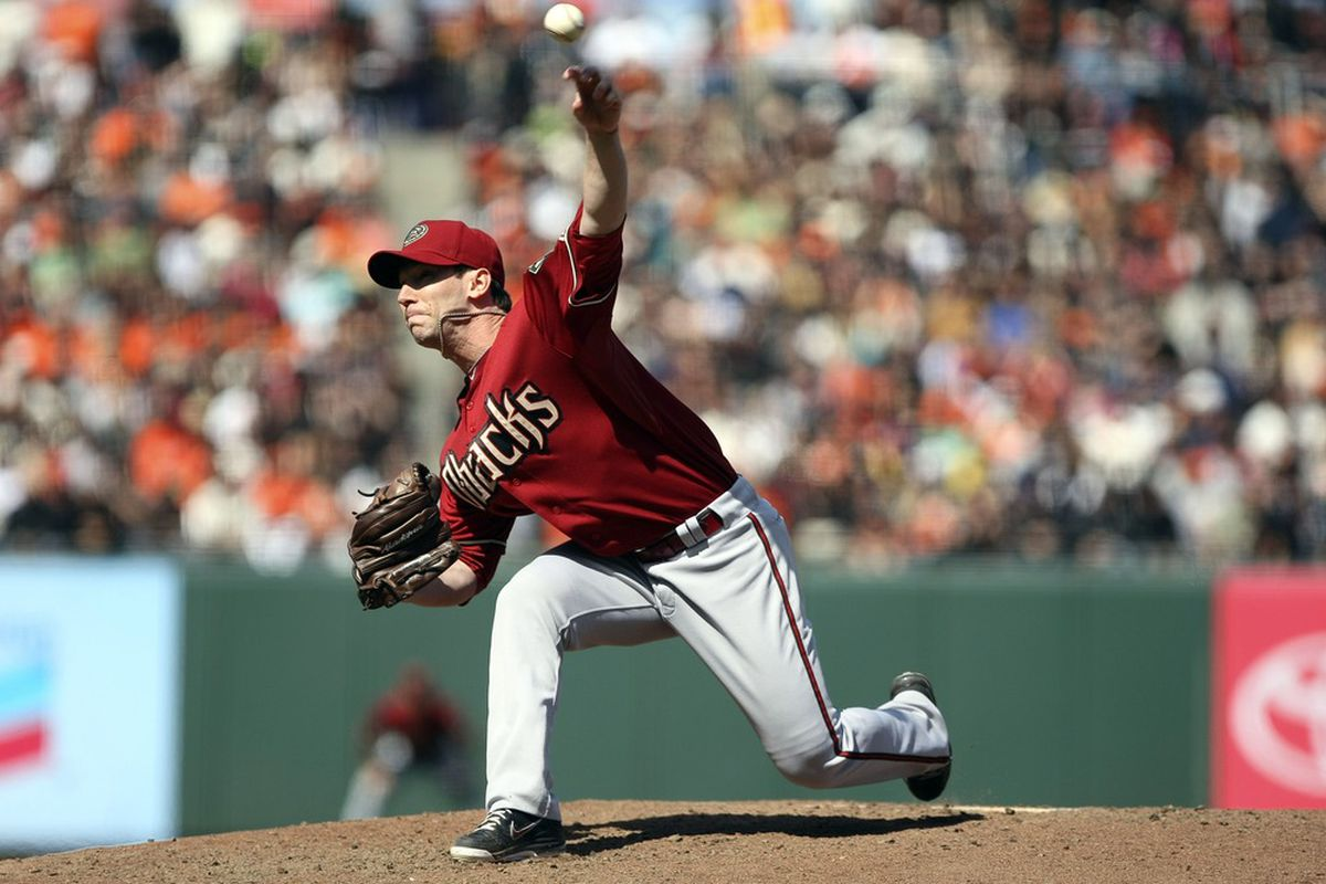 May 28, 2012; San Francisco, CA, USA; Arizona Diamondbacks relief pitcher Craig Breslow (32) pitches the ball against the San Francisco Giants during the seventh inning at AT&T Park. Mandatory Credit: Kelley L Cox-US PRESSWIRE