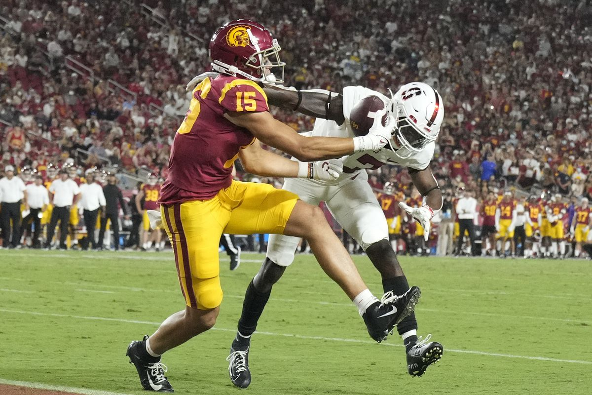 Stanford Cardinal defeated the USC Trojans 42-28 during a NCAA football game at the Los Angeles Memorial Coliseum in Los Angeles.