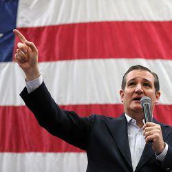 GOP presidential candidate and Texas Sen. Ted Cruz speaks on behalf of Sen. Mike Lee, R-Utah, at a rally in Draper at the American Preparatory Academy Saturday, March 19, 2016.
