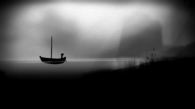 A small boy rides a small boat across a small pond in a screenshot from the game Limbo