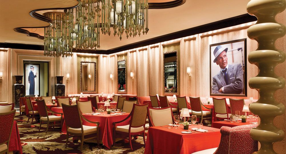 Restaurant interior with photo of Frank Sinatra