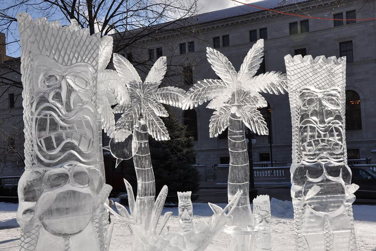 Ice sculptures of tiki gods and palm trees