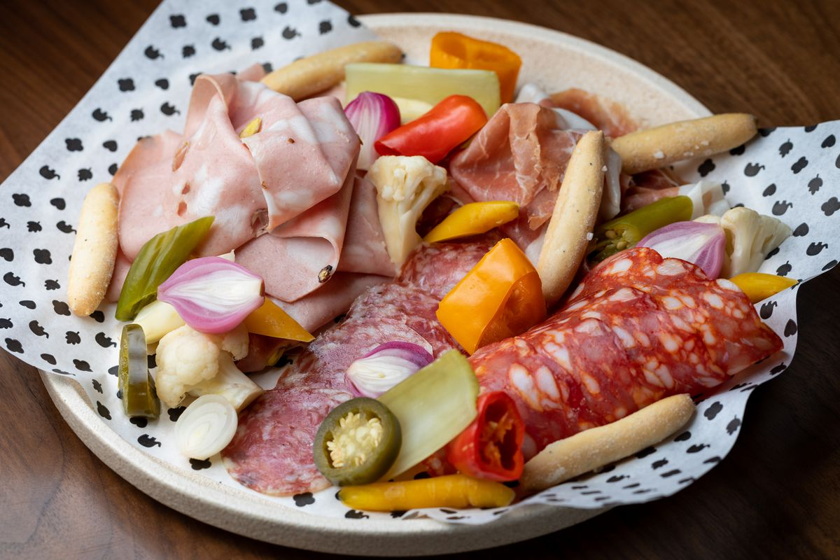 Charcuterie plate, Italian-American style, at EP