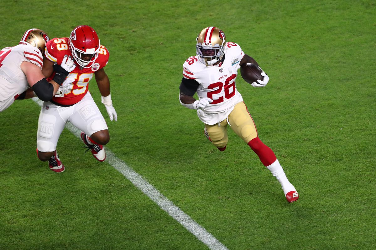 San Francisco 49ers running back Tevin Coleman carries for a gain in Super Bowl LIV at Hard Rock Stadium.