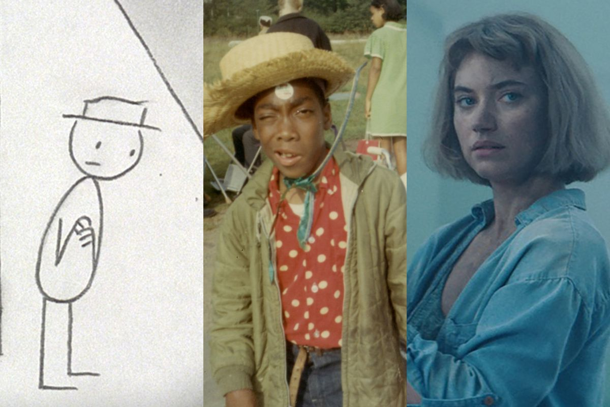 A triptych of a stick figure, a young boy wearing a cowboy hat, and a woman looking skeptical.