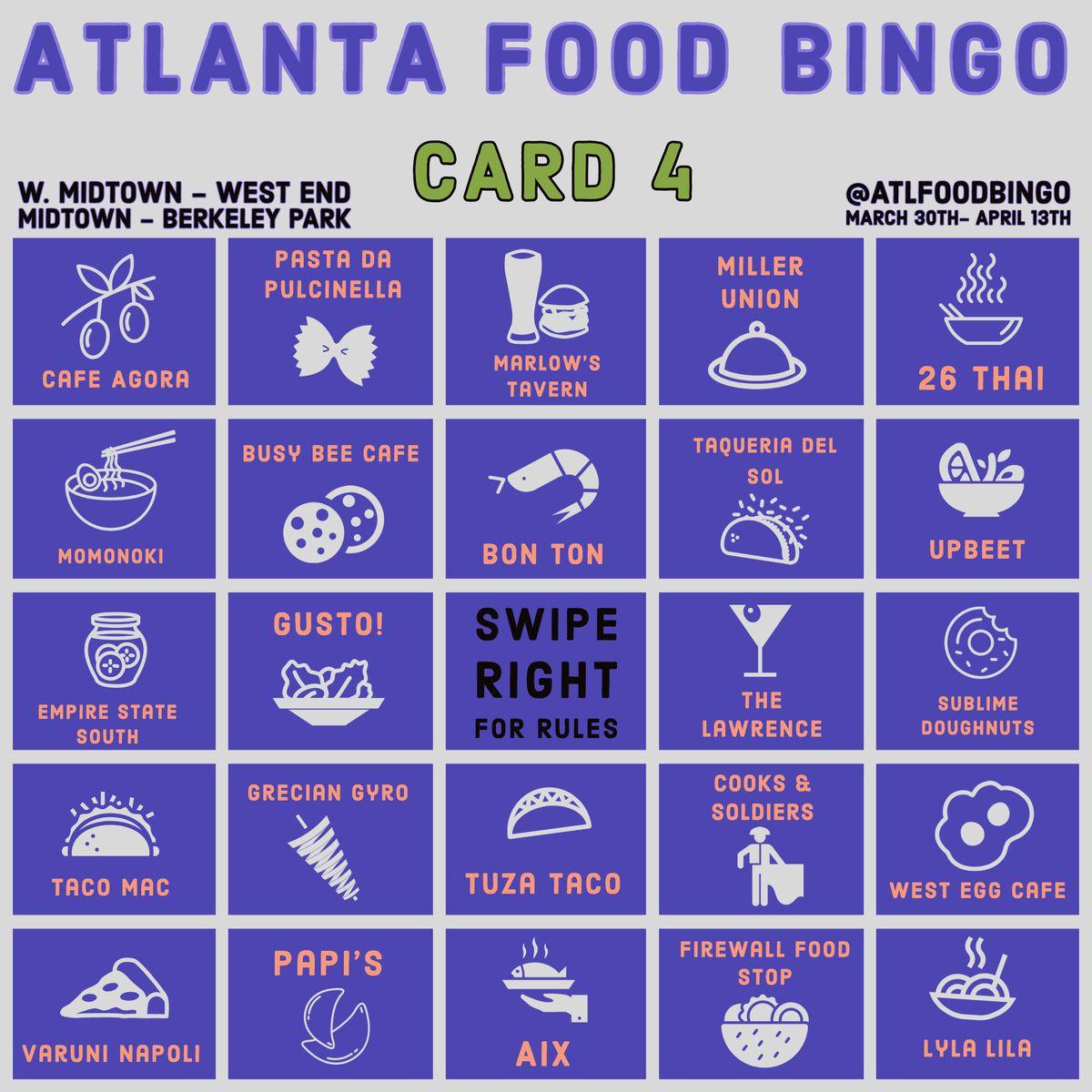 Westside Midtown Atlanta Food Bingo Card