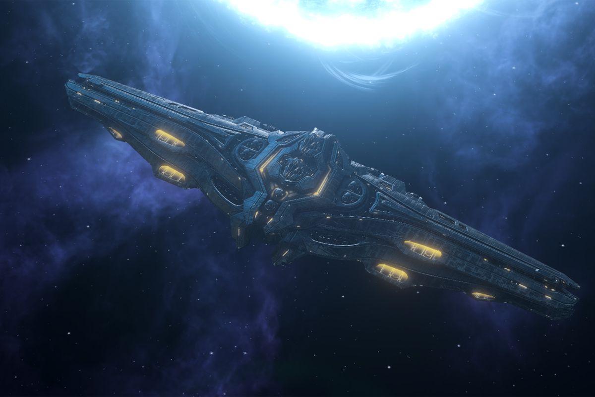 A juggernaut capital ship orbits a blue-white O-class star.