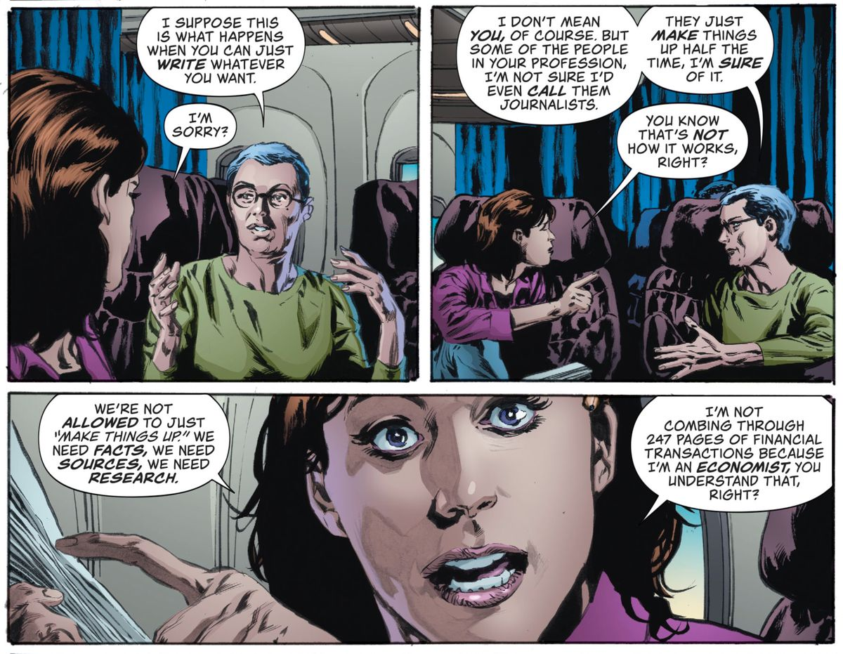 Lois Lane explains to the woman next to her on the plane that she can't, actually, just write whatever she wants, in Lois Lane #5, DC Comics (2019).