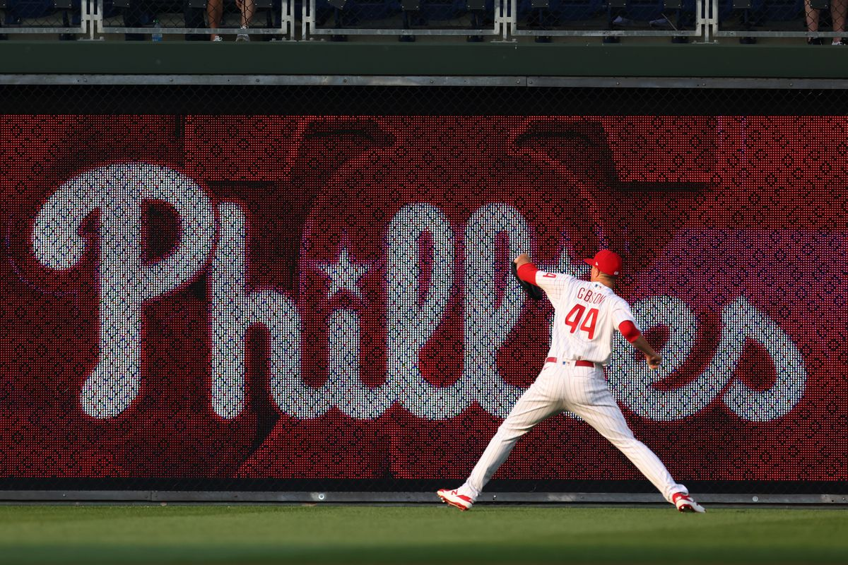 Pitcher Kyle Gibson #44 of the Philadelphia Phillies warms up before a game against the New York Mets at Citizens Bank Park on August 6, 2021 in Philadelphia, Pennsylvania.