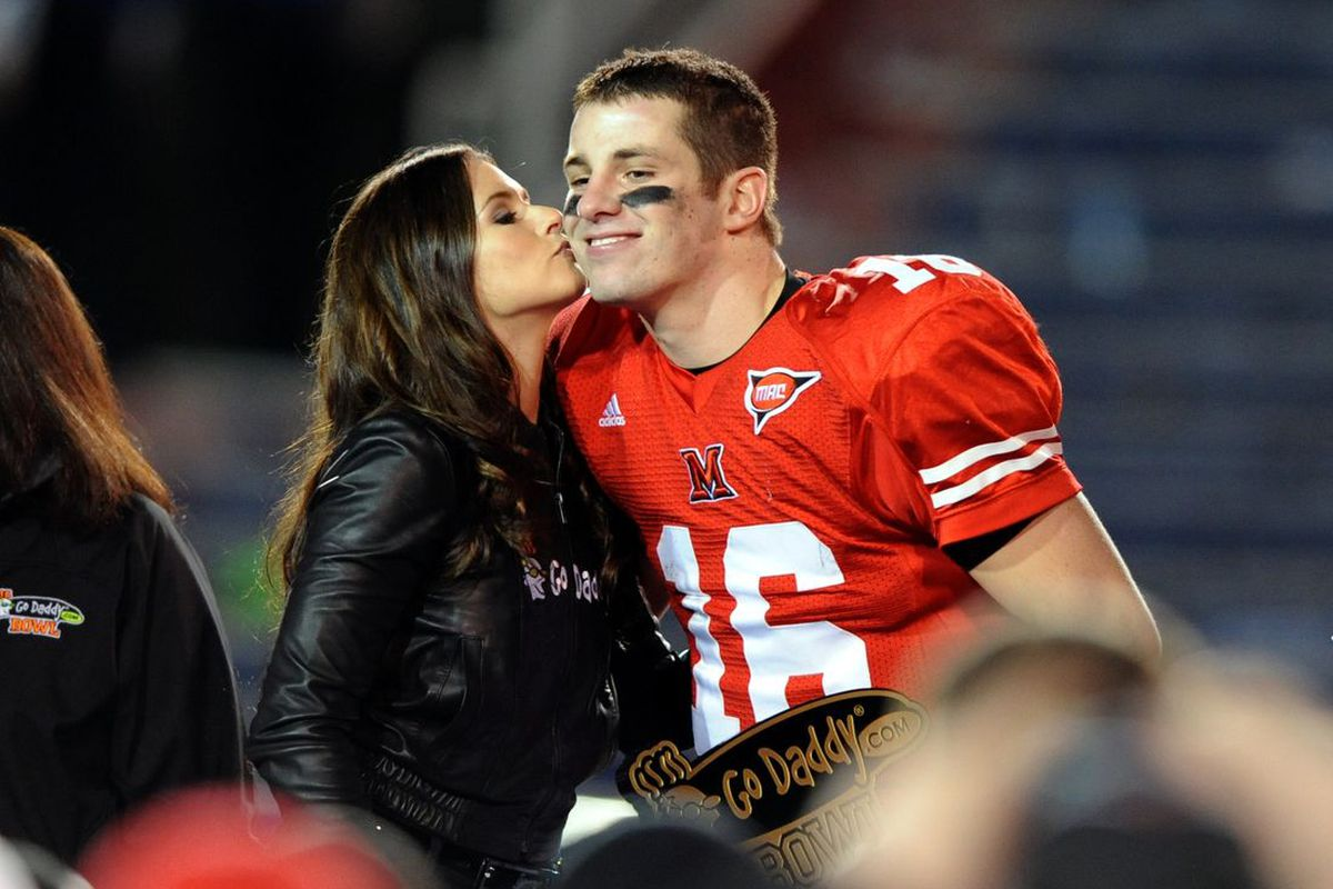 MAC quarterbacks for four more years will be given the chance to be kissed by WAIT HOLD ON DANICA YOU'RE A MARRIED WOMAN. (Chuck Cook-US PRESSWIRE)