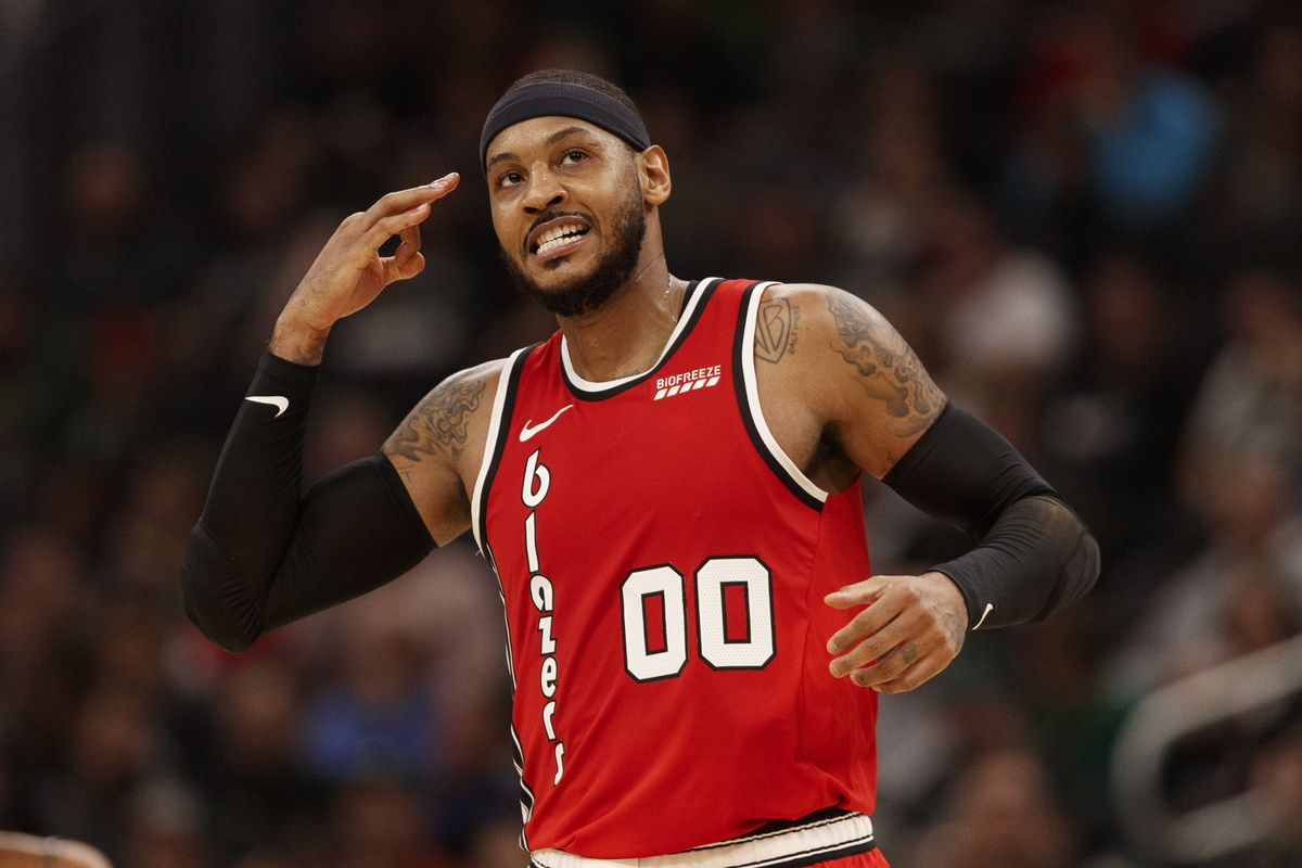 Portland Trail Blazers forward Carmelo Anthony reacts after making a basket during the third quarter against the Milwaukee Bucks at Fiserv Forum.