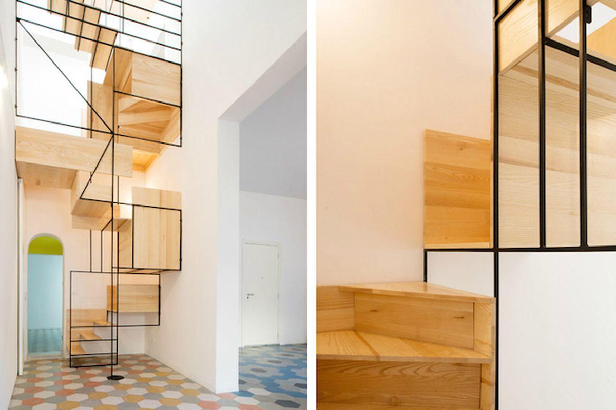 "All photos by Alberto Moncada via <a href=""http://www.dezeen.com/2015/04/09/francesco-librizzi-casa-g-sicily-boxy-metal-framed-staircase-mosaic-floor/"">Dezeen</a>"