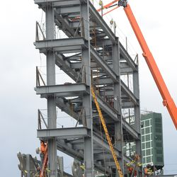 3:34 p.m. Another view of the right-field video board structure -