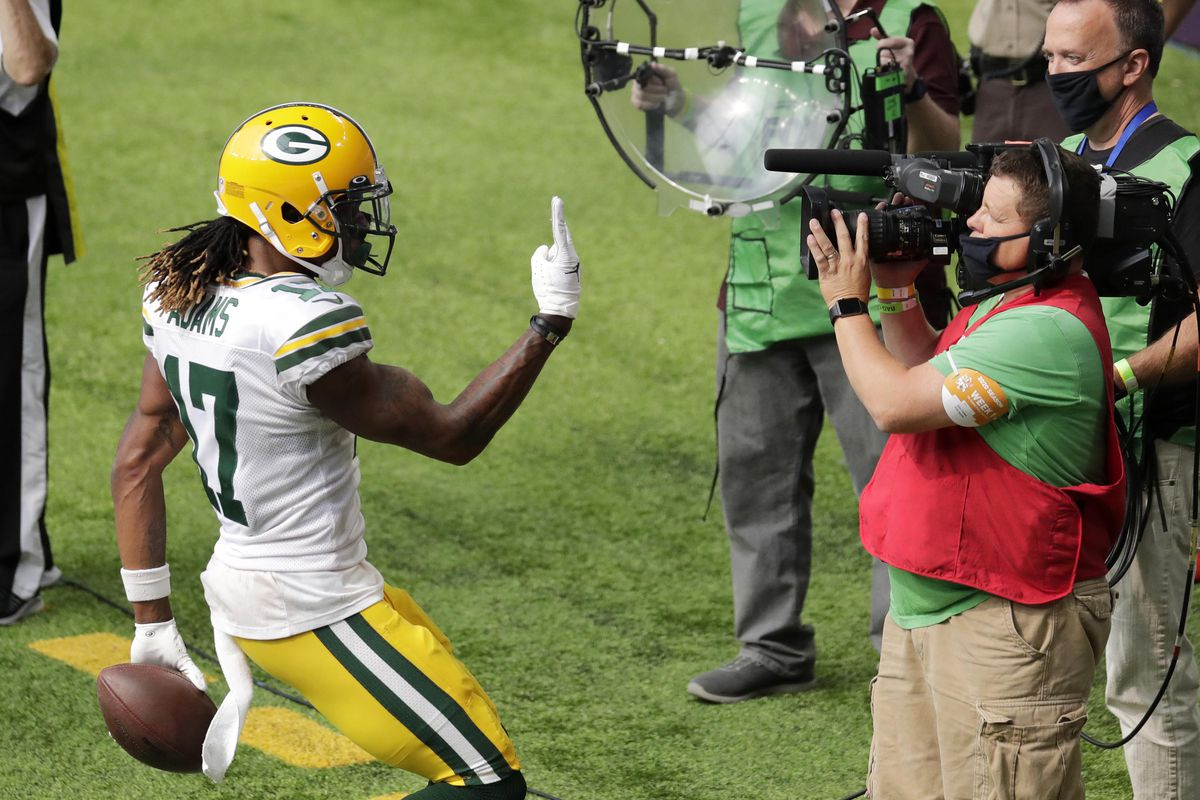 Green Bay Packers wide receiver Davante Adams (17) celebrates his second touchdown against the Minnesota Vikings during their football game Sunday, September 13, 2020, at U.S. Bank Stadium in Minneapolis, Minn. Green Bay won 43-34.