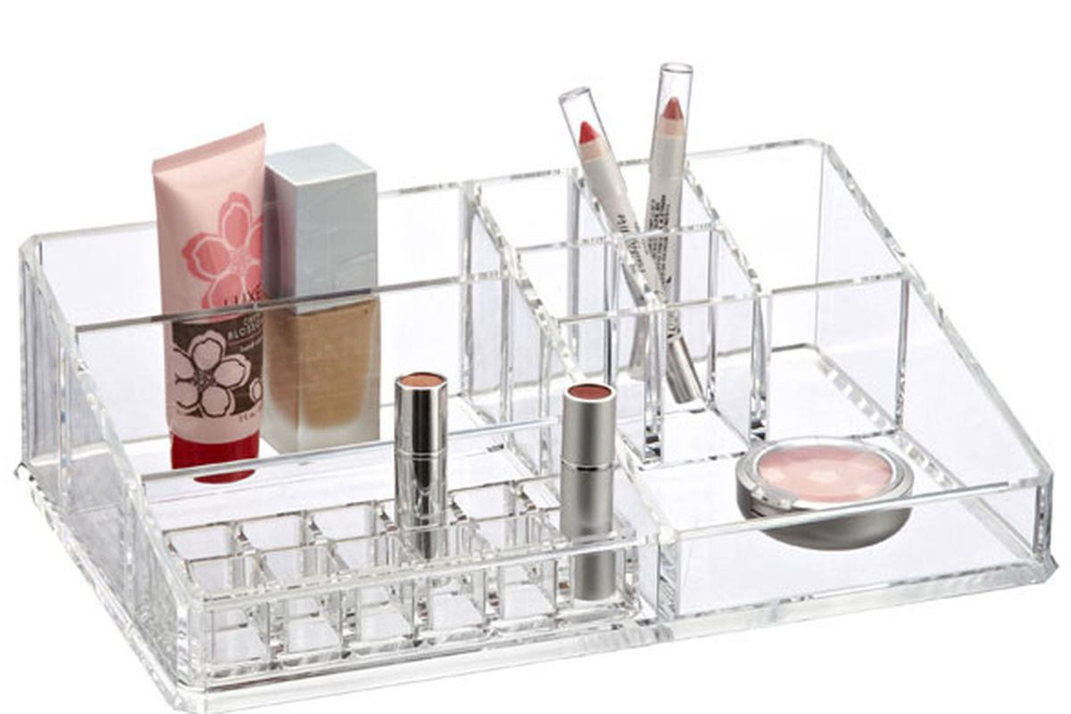 """Large Acrylic Makeup Organizer, <a href=""""http://www.containerstore.com/shop/bath/cosmeticsOrganizers?productId=10009895"""">$29.99</a> at The Container Store"""
