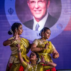 Dancers perform an Indian classical cance  of Saraswati and ganesh Vandana during  an award ceremony in Pune, Maharashtra, India, on August 14, 2017.
