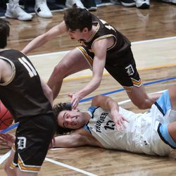 Davis and Westlake compete during the 6A boys basketball championship game at Salt Lake Community College in Taylorsville on Saturday, March 6, 2021. Davis won 60-55.