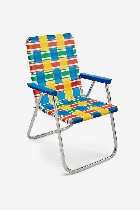 Multi-colored lawn chair.