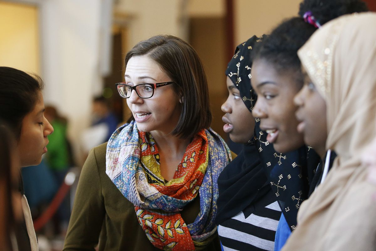 Dr. Alli Martin talks with Northwest Middle School students where she is an assistant principal in Salt Lake City on Friday, Dec. 22, 2017. Martin researched racist events that take place in schools for her doctorate degree.