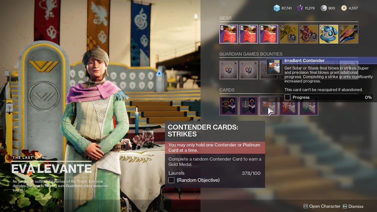 Destiny 2 Guardian Games 2021 Eva Levante menu