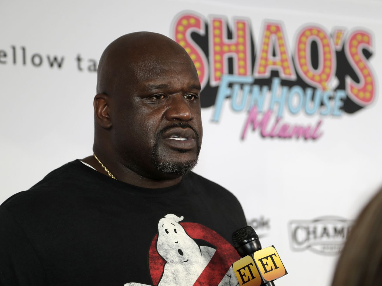 In this 2020, file photo, former NBA player Shaquille O' Neal is interviewed on the red carpet for Shaq's Fun House in Miami.