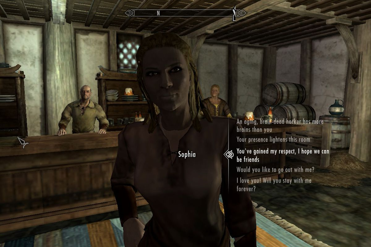 Skyrim mod makes npc interactions less scripted more sims like manuel guimaraesbethesda game studios maxwellsz