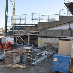 The north end of the third-base line grandstand at Waveland -