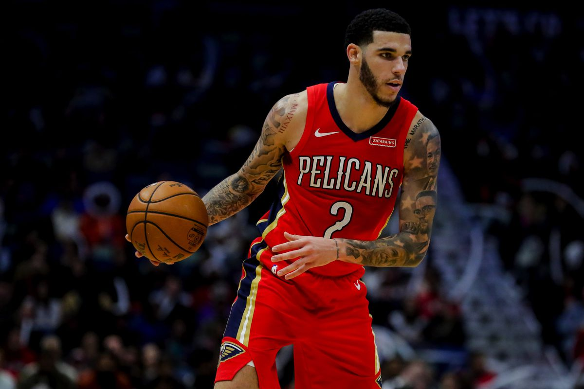 New Orleans Pelicans guard Lonzo Ball during the second half against the Denver Nuggets at the Smoothie King Center.