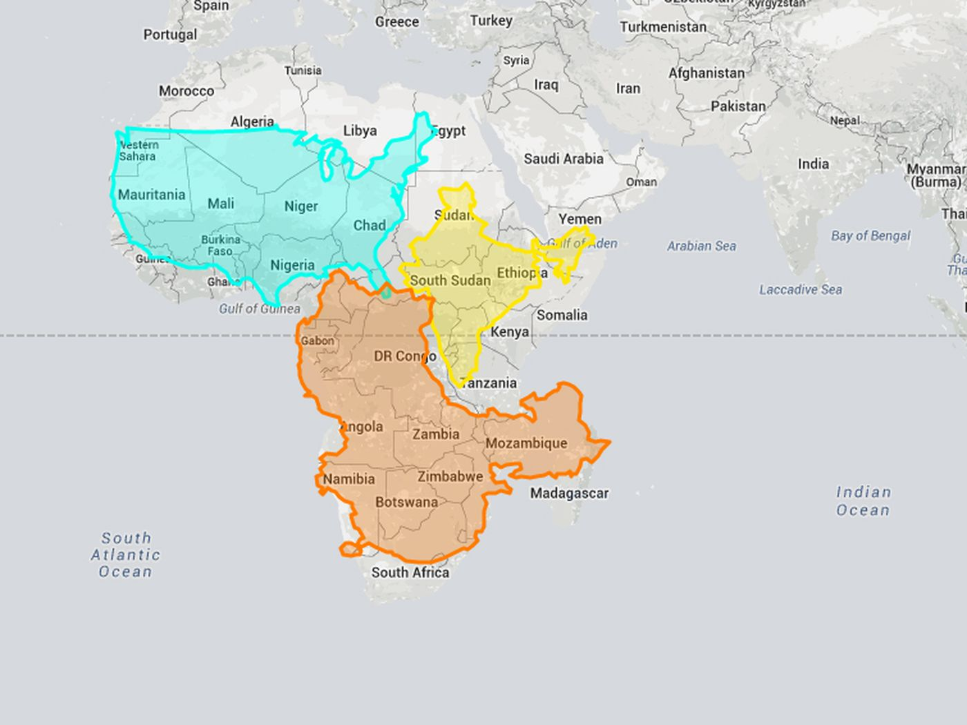 This interactive website shows how wrong Mercator projections can be ...