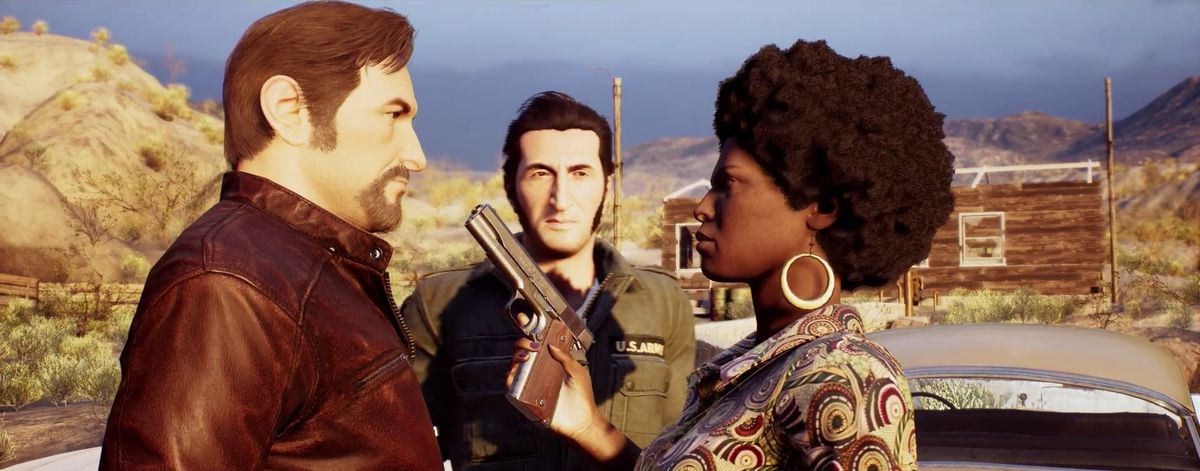 A Way Out - woman pointing a gun at Vincent while Leo watches