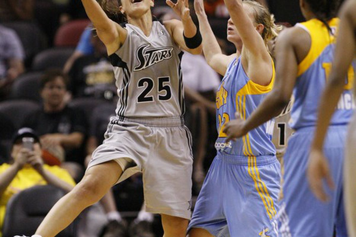 May 30, 2012; San Antonio, TX, USA; San Antonio Silver Stars guard Becky Hammon (25) gets fouled while shooting against Chicago Sky guard Courtney Vandersloot (22) during the second half at the AT&T Center. Mandatory Credit: Soobum Im-US PRESSWIRE