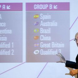 FIBA's Sport Director Lubomir Kotleba shows the fixture for the London 2012 Olympic men's basketball tournament after the draw in Rio de Janeiro, Brazil, Monday, April 30, 2012. Basketball at the London 2012 Olympic Games will be held from July 28 to Aug. 12.