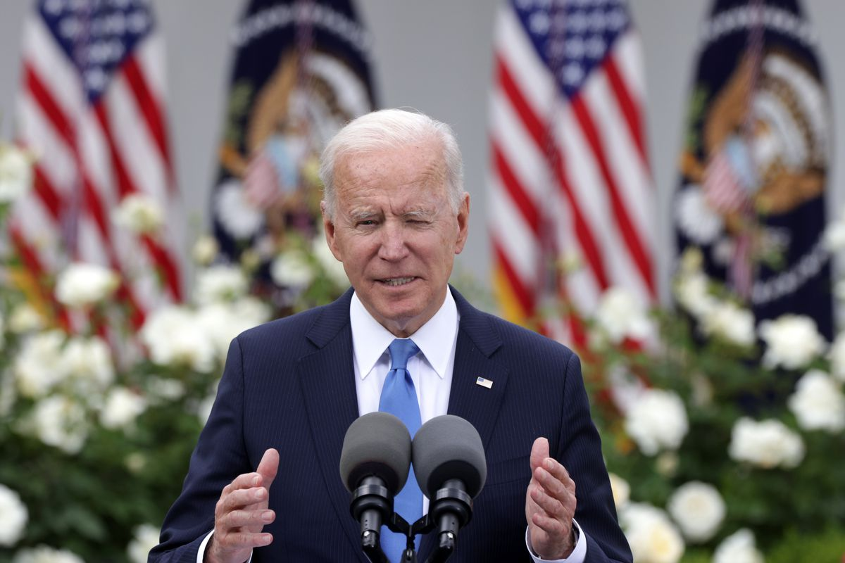 President Joe Biden speaks about America's Covid-19 response at the Rose Garden in the White House on May 13, 2021.