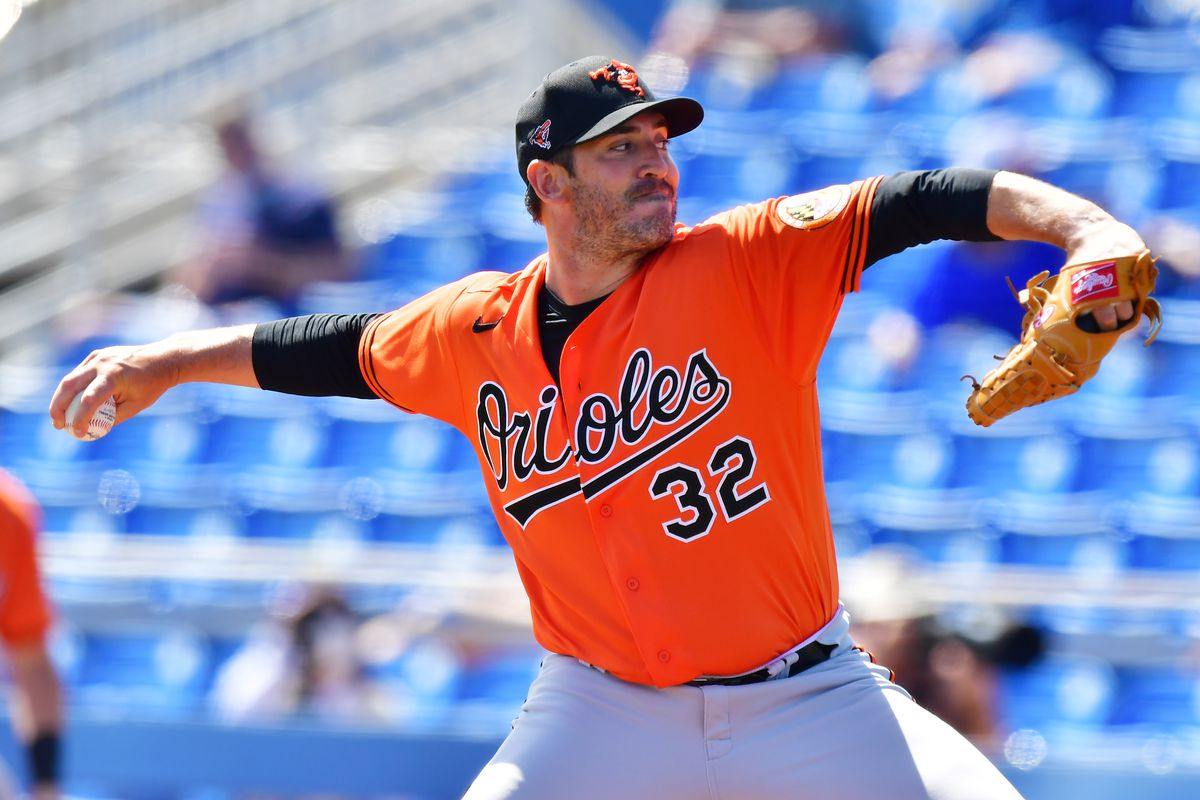 Matt Harvey #32 of the Baltimore Orioles delivers a pitch in the first inning of a spring training game against the Toronto Blue Jays on March 05, 2021 at TD Ballpark in Dunedin, Florida.