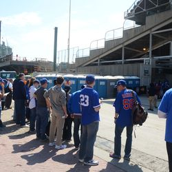 11:17 a.m. Fans waiting across the street, waiting for the gates to open at 11:20 -