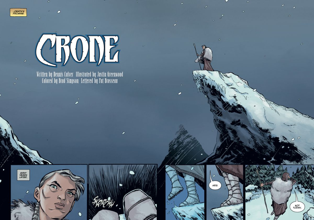 An elderly Bloody Bliss stands on a cliff and eventually decides that's no way for a warrior to die in Crone #1, Dark Horse Comics (2019).