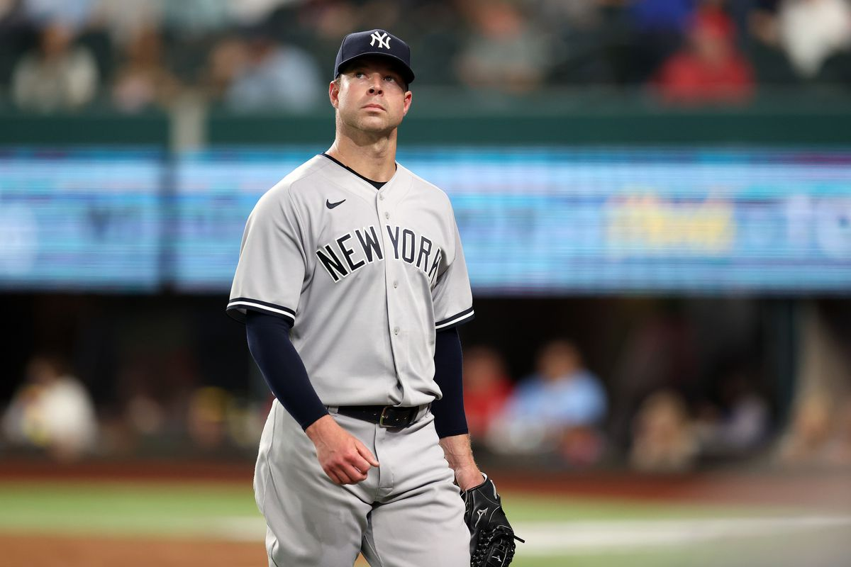Corey Kluber #28 of the New York Yankees after the third out against the Texas Rangers in the fourth inning at Globe Life Field on May 19, 2021 in Arlington, Texas.