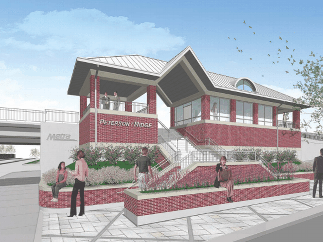 A digital rendering shows a plaza with a landscaped embankment and stairs leading up to a brick station platform waiting area with rooftop.