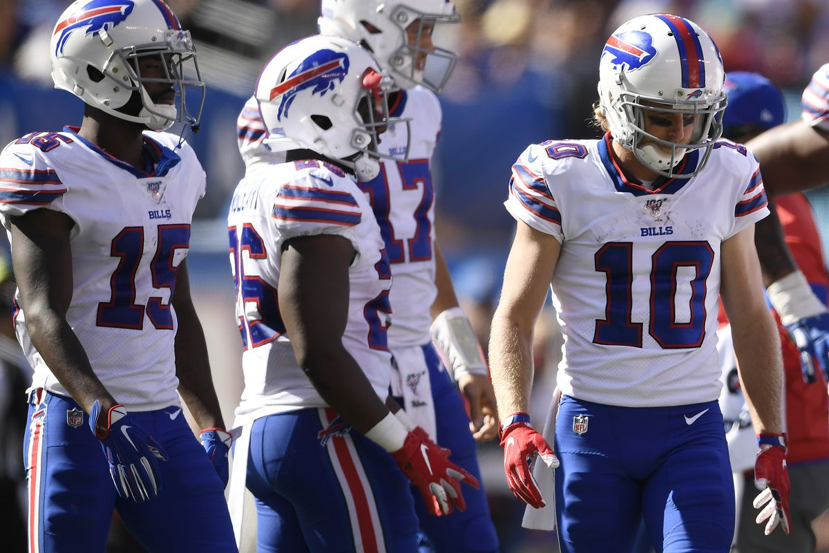 John Brown, Devin Singletary, and Cole Beasley of the Buffalo Bills look on during the third quarter of the game against the New York Giants at MetLife Stadium on September 15, 2019 in East Rutherford, New Jersey.