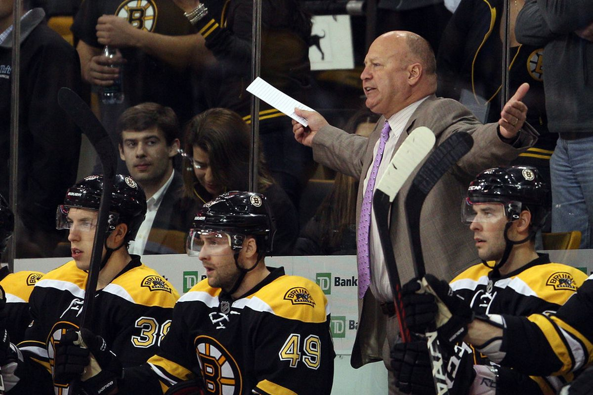 BOSTON, MA - OCTOBER 18:  Head coach Claude Julien of the Boston Bruins reacts to a call against his team in the second perod against the Carolina Hurricanes on October 18, 2011 at TD Garden in Boston, Massachusetts.  (Photo by Elsa/Getty Images)
