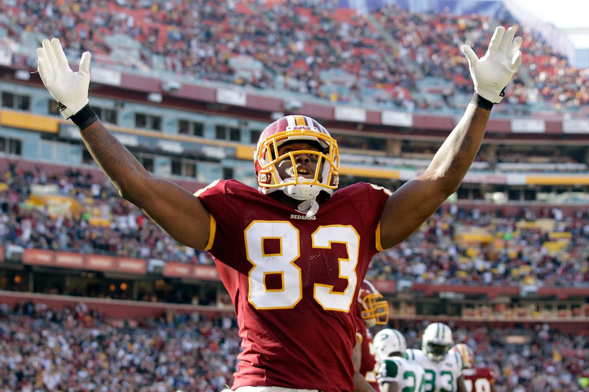 LANDOVER, MD - DECEMBER 04:  Fred Davis #83 of the Washington Redskins celebrates the Redskins first touchdown against the New York Jets during the first half at FedExField on December 4, 2011 in Landover, Maryland.  (Photo by Rob Carr/Getty Images)