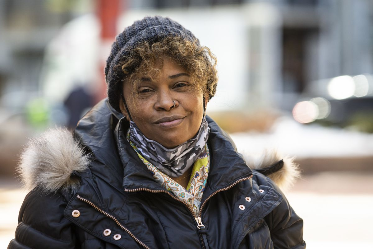 Edie Moore, a dispensary applicant and the executive director of the Chicago chapter of the National Organization for the Reform of Marijuana Laws, poses for a portrait Tuesday outside the Thompson Center after a news conference about Black and Latino social equity applicants being denied cannabis industry licenses in Illinois.