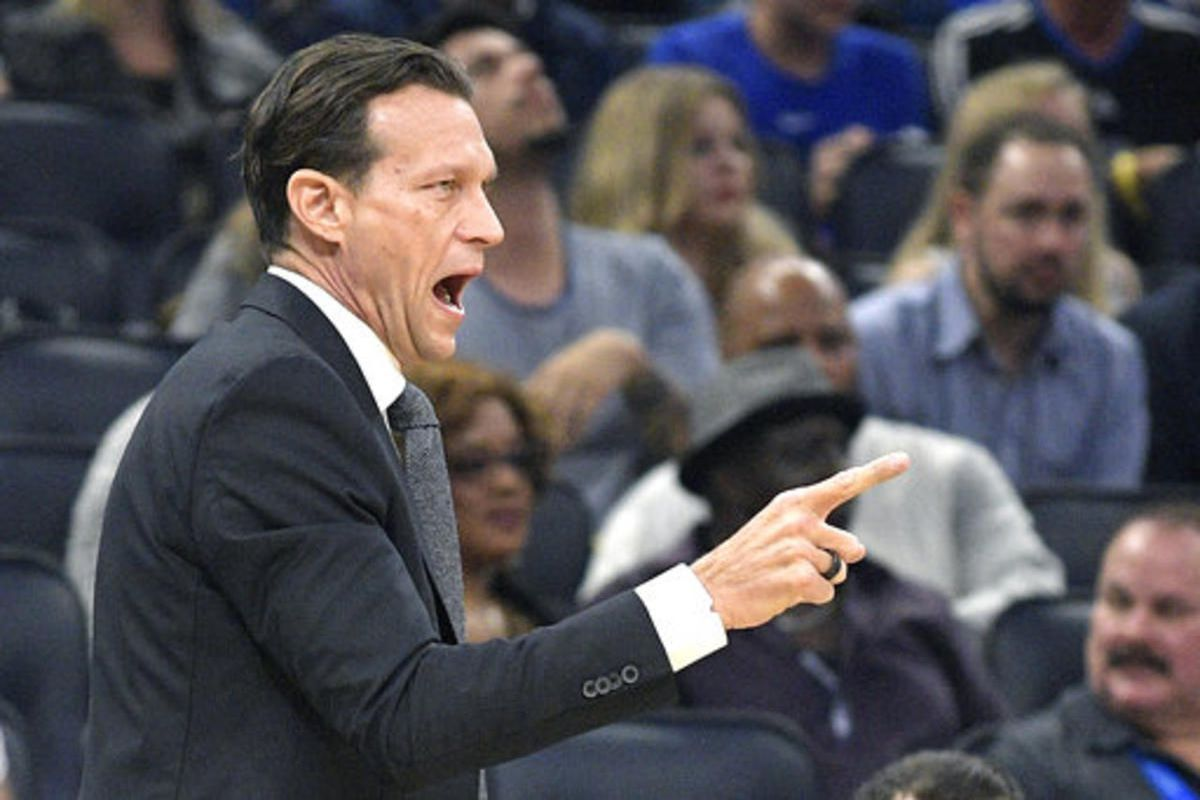 Utah Jazz head coach Quin Snyder calls out instructions during the first half of an NBA basketball game against the Orlando Magic, Saturday, Nov. 18, 2017, in Orlando, Fla. (AP Photo/Phelan M. Ebenhack)