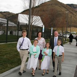 The Justin and Catherine Andrews family of Thayne, Wyoming, arrive at the new Star Valley Wyoming Temple on a chilly Sunday afternoon for one of three dedicatory sessions. The new temple will serve thousands of Latter-day Saints in western Wyoming and parts of southeastern Idaho.