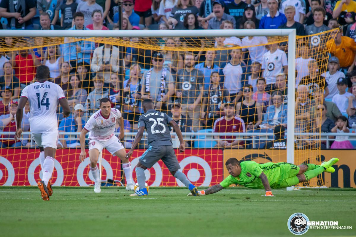 September 15, 2019 - Saint Paul, Minnesota, United States - Minnesota United forward Darwin Quintero (25) sends Real Salt Lake goalkeeper Nick Rimando (18) the wrong way and scores a goal during the match at Allianz Field.