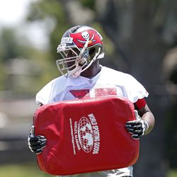 Kevin Pamphile in position drills. The rookie is physically gifted, but needs to improve his technique in the NFL.