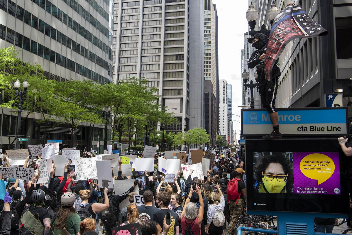 Thousands protested in Chicago's downtown area demanding justice for the death of George Floyd by Minneapolis police, Saturday, May 30, 2020.