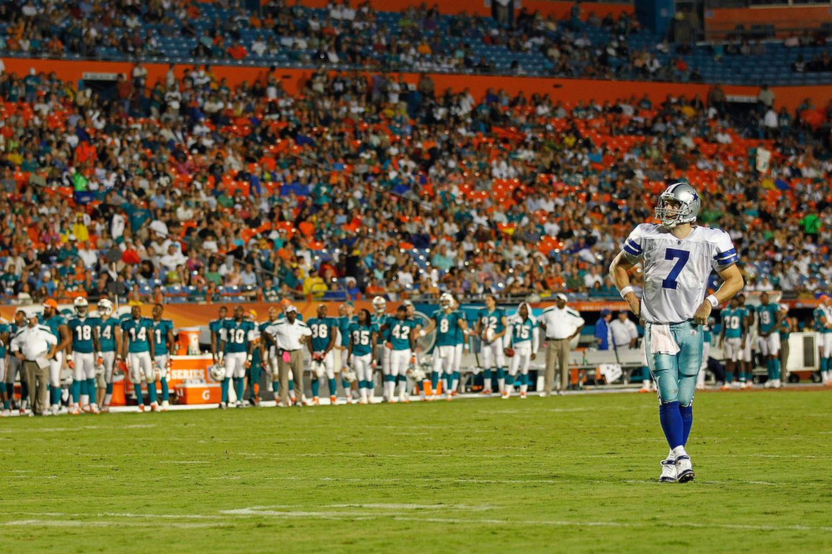 MIAMI GARDENS, FL - SEPTEMBER 01:  Stephen McGee #7 of the Dallas Cowboys looks on during a Pre-Season NFL game against the Miami Dolphins at Sun Life Stadium on September 1, 2011 in Miami Gardens, Florida.  (Photo by Mike Ehrmann/Getty Images)