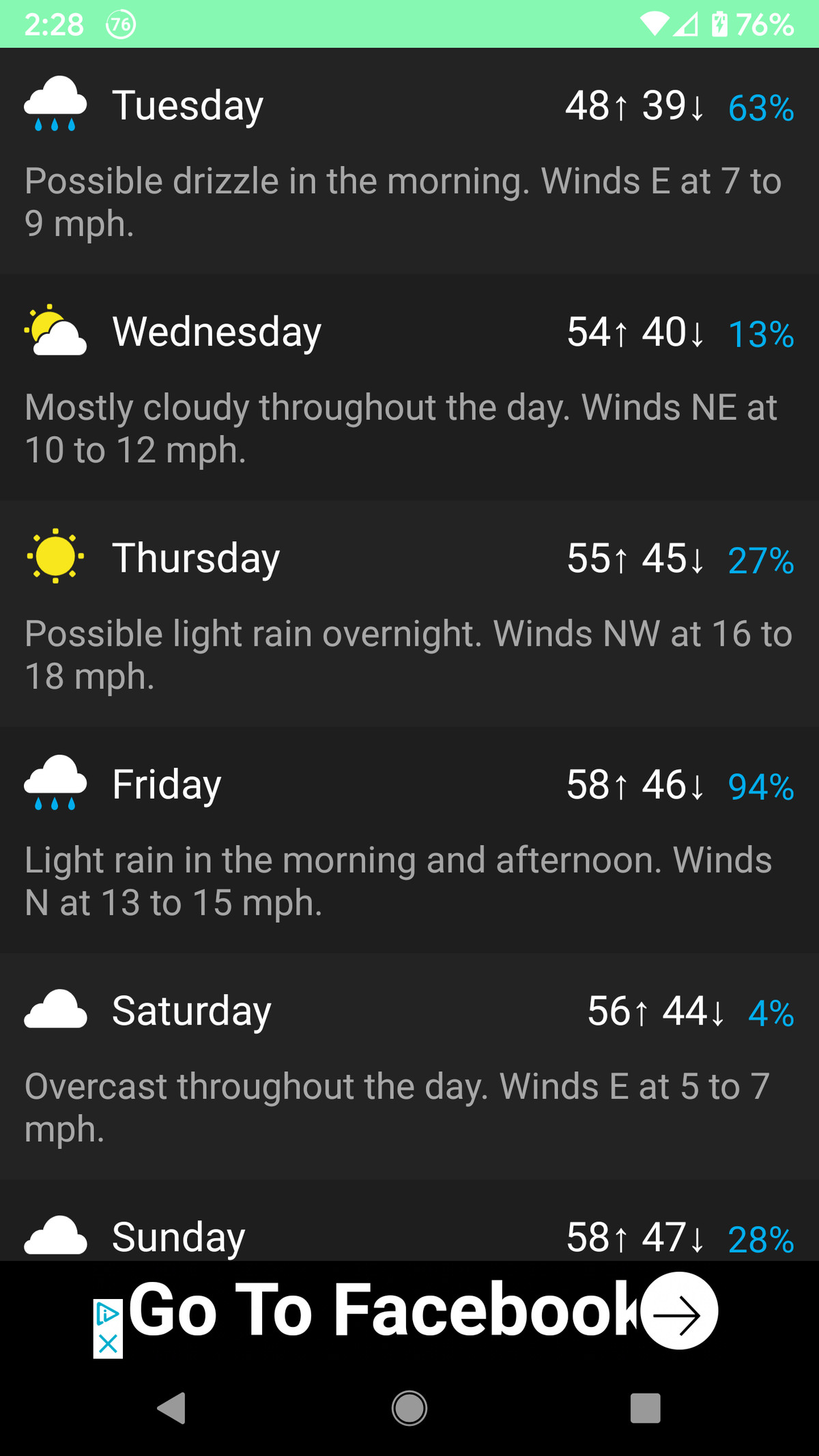 Carrot offers a reasonable amount of data on current and upcoming weather.